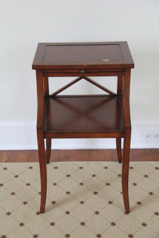 antique english 2 level side table w pull out tray