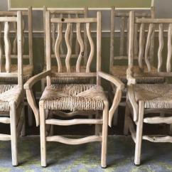 Adirondack Style Dining Chairs Kids Outdoor Table And 6 Pickled Pine Rush