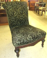 1800's Original Mohair Fabric Victorian Armless chair with c