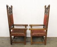 Pair magnificent antique large Italian throne chairs