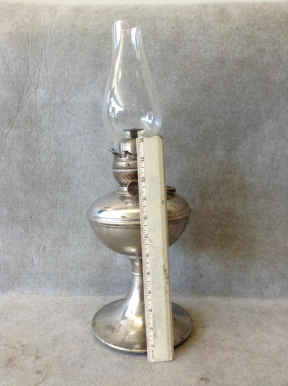 Antique Silverplate Success Oil Lamp