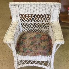 Vintage Wicker Rocking Chair Dining Seat Cover Lot 371