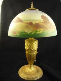 Hand-painted glass shade lamp
