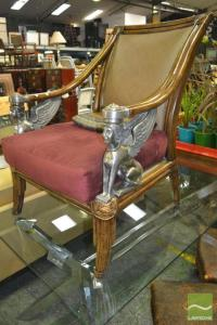 Egyptian Throne Chair w Metal Winged Sphinx Figures