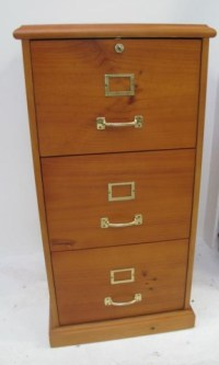 Quality three drawer timber filing cabinet & key
