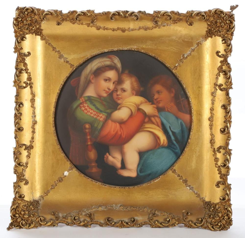 madonna of the chair portable shampoo german porcelain plaque lot 1559