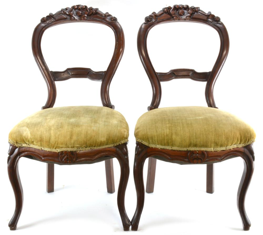 Antique Parlor Chairs Lot 212 Pair Walnut Carved Victorian Balloon Back Parlor Chairs