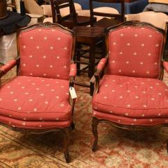Country French Chairs Upholstered Best Spray Paint For Plastic Pair Arm Lot 2286