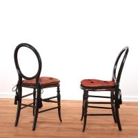 Pair Victorian faux tortoise fancy chairs