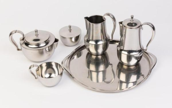 A Georg Jensen stainless steel tea and coffee set on tray D