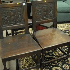 Chair Side Book Stand Wooden With Arms Six Piece Lot Including Set Of Three Oak Chairs One Small 120