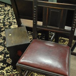 Chair Side Book Stand Lycra Covers Adelaide Six Piece Lot Including Set Of Three Oak Chairs One Small 120