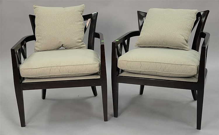 double x back chairs leather chair and ottoman sets baker barbara barry collection pair of