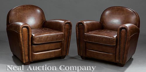 art deco style club chairs baby bouncy chair canada pair of leather lot 244