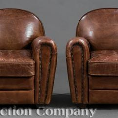 Art Deco Style Club Chairs Ergonomic Chair Uk Pair Of Leather Lot 244