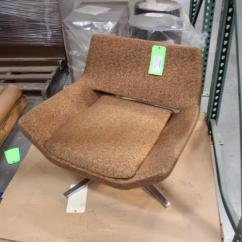 Oversized Upholstered Chair Big Joe Lumin Smartmax Fabric Brown Swivel Lot 3494