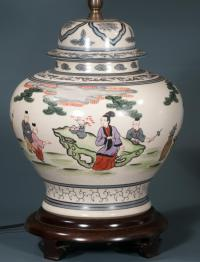 Chines porcelain ginger jar lamp with bird and floral decora