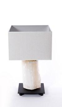 Table lamp selenite lamp white small selenite white black po