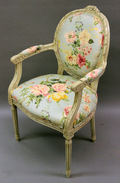 Furniture floral upholstered arm chair French Country Prov