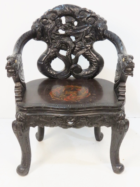 antique chinese dragon chair rocking styles pictures carved lot 272