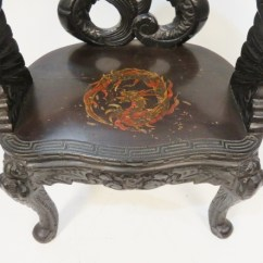 Antique Chinese Dragon Chair Conant Ball Carved Lot 272