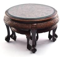 CHINESE COFFEE TABLE AND FOUR NESTING STOOLS.