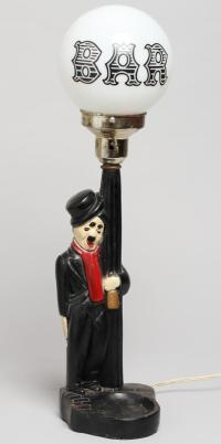 Vintage Charlie Chaplin Bar Globe Novelty Lamp