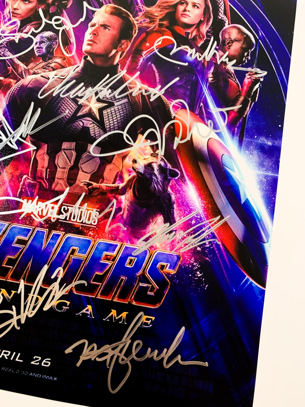 avengers endgame 15 signatures signed mini poster