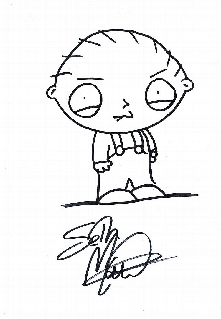 SETH MACFARLANE DRAWING OF STEWIE GRIFFIN.