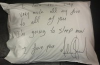 MICHAEL JACKSON SIGNED PILLOW CASE.