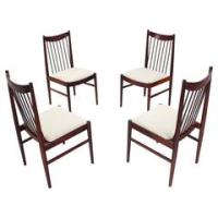Set of Four Danish Mid Century Danish Modern Rosewood Spindl