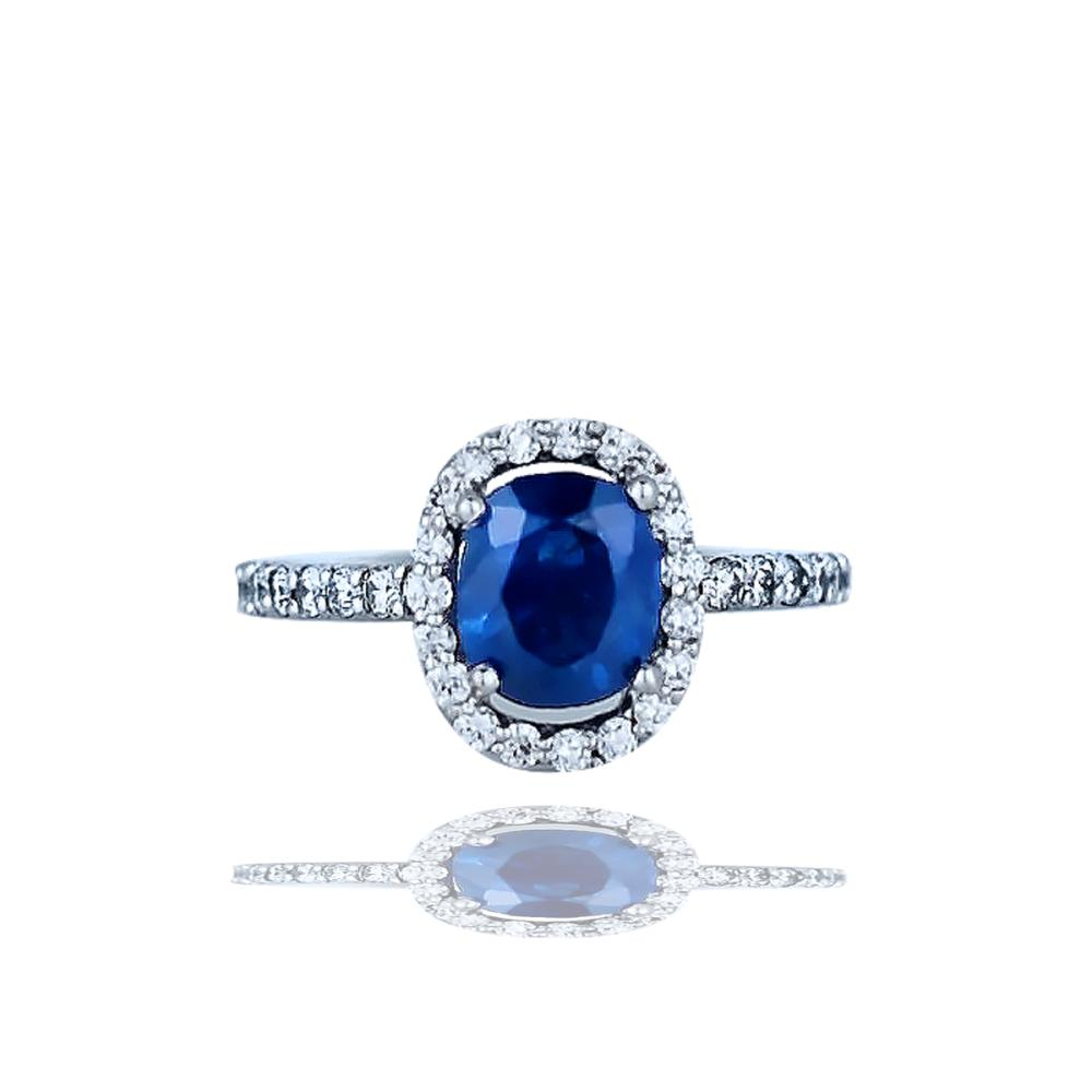 Halo, 285 Tcw, Sapphire And Diamond Ring, Top Quality 14kt