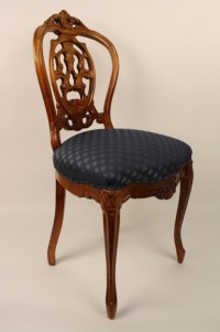Small Victorian Vanity Chair Dark Blue Seat