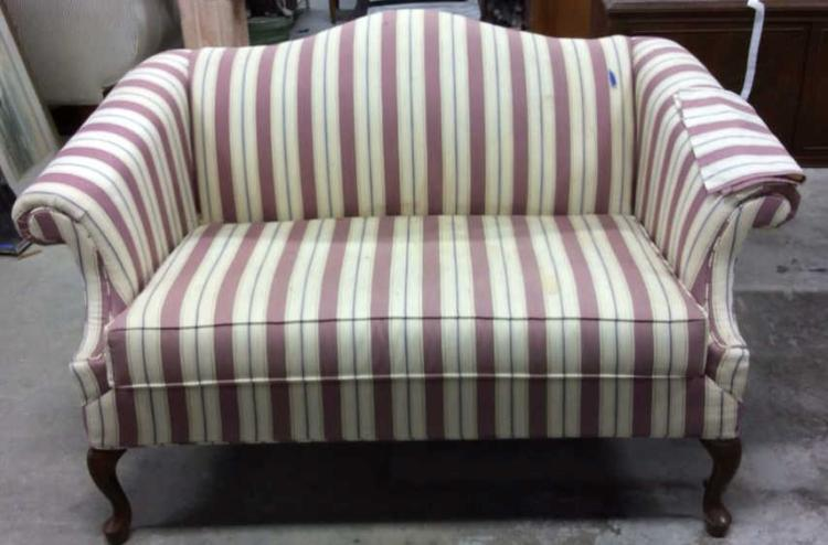 pembrook chair corp ozark folding vintage camelback setee loveseat sofa chippendale style sofaa with lot 13 scrolled arms pas feet marked for pembroke con over north