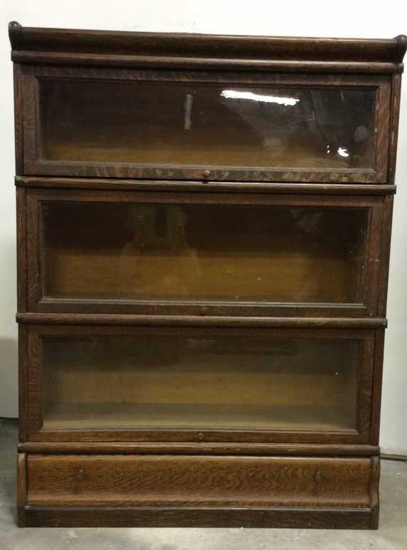 Antique 3 Shelf Oak Barrister Bookcase