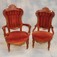 Ladies' & Gentleman's Overstuffed Victorian Chairs