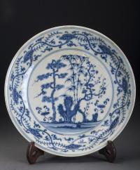 Antique Blue and White Porcelain Plate