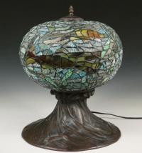 STAINED GLASS FISH BOWL LAMP