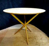 MID CENTURY BRASS & MARBLE TOP TABLE