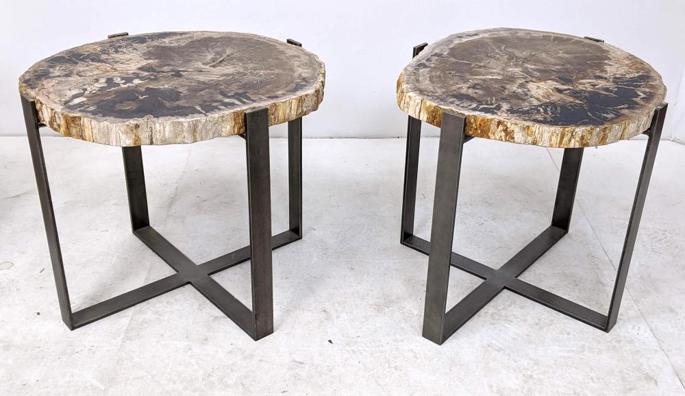 pr thick petrified wood slab side end tables metal bas