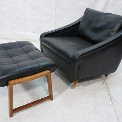 Black Chair And Ottoman Replacement Outdoor Cushions Milo Baughman Vinyl Lounge T Lot 572