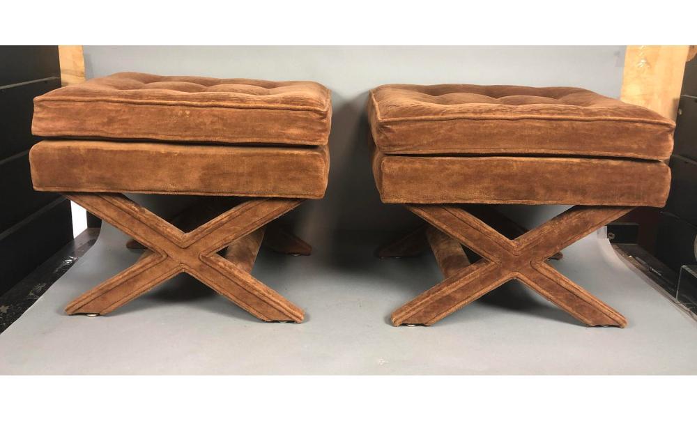 pr caramel velvet tufted bench stools x base co