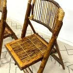 Sold Price Set 4 Vintage Bamboo Folding Chairs With Rattan Wraping June 2 0120 10 00 Am Edt