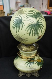 Vintage Brass Oil Lamp With Hand Painted Globe