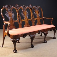 Queen Anne Style Chair Cover Rental Golden Co A Fine Figured Walnut Triple Backed Settee Lot 595 The Broad Shaped Back Splats Enriched With Voluted Scrolls Of Foliage Beneath