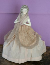 antique porcelain half doll figural table lamp