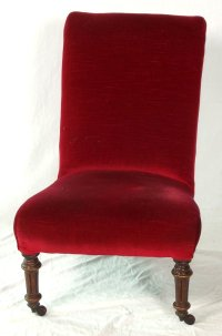 Victorian Walnut Nursing Chair with Red Velvet Upholstery 19