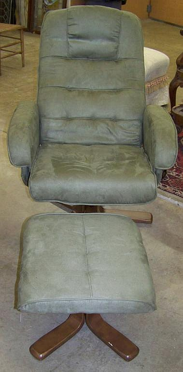 microfiber club chair with ottoman antique rocking leather seat swivel sage lot 652m