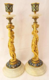 Bronze, Cloisonne & Alabaster Candle Holders