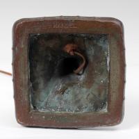 HANDEL OVERLAY SLAG GLASS BENT PANEL LAMP